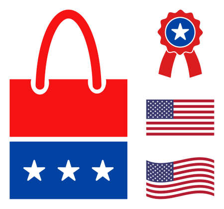Shopping bag icon in blue and red colors with stars. Shopping bag illustration style uses American official colors of Democratic and Republican political parties, and star shapes. Ilustración de vector
