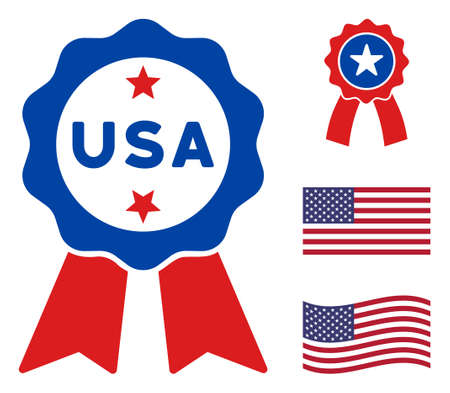 USA stamp seal icon in blue and red colors with stars. USA stamp seal illustration style uses American official colors of Democratic and Republican political parties, and star shapes.