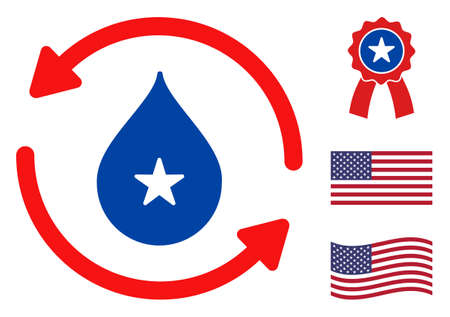 Water recirculation icon in blue and red colors with stars. Water recirculation illustration style uses American official colors of Democratic and Republican political parties, and star shapes.