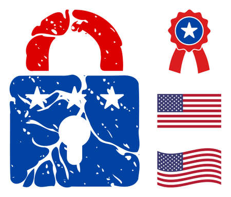 Rust lock icon in blue and red colors with stars. Rust lock illustration style uses American official colors of Democratic and Republican political parties, and star shapes.