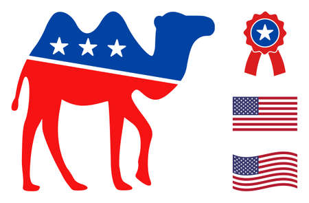 Camel icon in blue and red colors with stars. Camel illustration style uses American official colors of Democratic and Republican political parties, and star shapes. Simple camel vector sign, Stock Illustratie