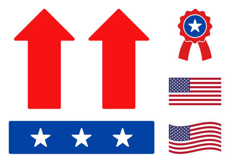 Move up icon in blue and red colors with stars. Move up illustration style uses American official colors of Democratic and Republican political parties, and star shapes. Simple move up vector sign,