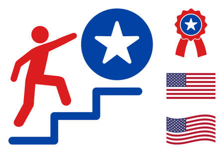 Man steps to success icon in blue and red colors with stars. Man steps to success illustration style uses American official colors of Democratic and Republican political parties, and star shapes.