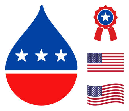 Oil drop icon in blue and red colors with stars. Oil drop illustration style uses American official colors of Democratic and Republican political parties, and star shapes. Simple oil drop vector sign,