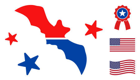 Flying bat icon in blue and red colors with stars. Flying bat illustration style uses American official colors of Democratic and Republican political parties, and star shapes.