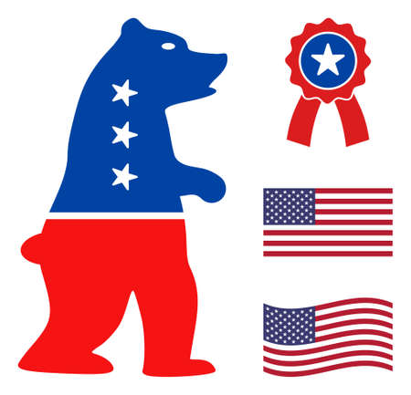 Standing bear icon in blue and red colors with stars. Standing bear illustration style uses American official colors of Democratic and Republican political parties, and star shapes.