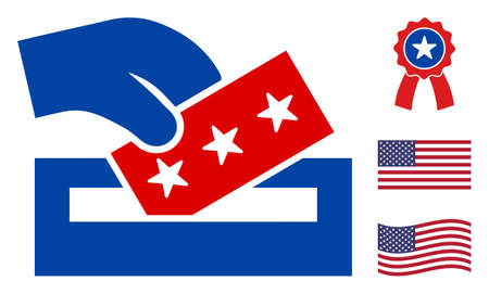 Election box icon in blue and red colors with stars. Election box illustration style uses American official colors of Democratic and Republican political parties, and star shapes.