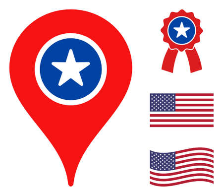 Map marker icon in blue and red colors with stars. Map marker illustration style uses American official colors of Democratic and Republican political parties, and star shapes.