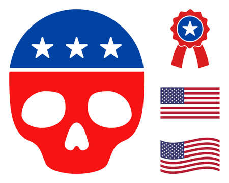 Dead skull icon in blue and red colors with stars. Dead skull illustration style uses American official colors of Democratic and Republican political parties, and star shapes.