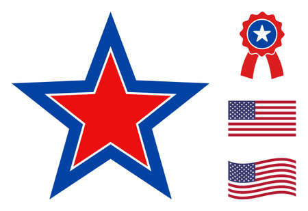 Inner star icon in blue and red colors with stars. Inner star illustration style uses American official colors of Democratic and Republican political parties, and star shapes.