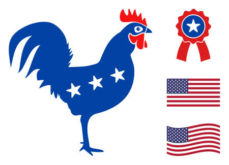 Rooster icon in blue and red colors with stars. Rooster illustration style uses American official colors of Democratic and Republican political parties, and star shapes. Simple rooster vector sign, Stock Illustratie