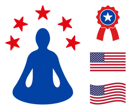 Yoga relaxation icon in blue and red colors with stars. Yoga relaxation illustration style uses American official colors of Democratic and Republican political parties, and star shapes.