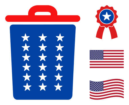 Trash can icon in blue and red colors with stars. Trash can illustration style uses American official colors of Democratic and Republican political parties, and star shapes.