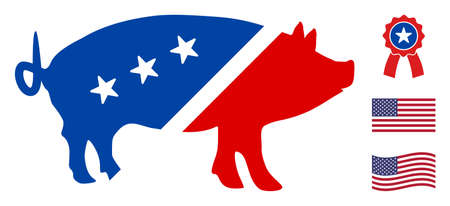 Pork icon in blue and red colors with stars. Pork illustration style uses American official colors of Democratic and Republican political parties, and star shapes. Simple pork vector sign,