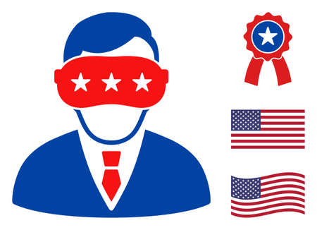Virtual reality icon in blue and red colors with stars. Virtual reality illustration style uses American official colors of Democratic and Republican political parties, and star shapes.