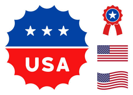 USA medallion logo icon in blue and red colors with stars. USA medallion logo illustration style uses American official colors of Democratic and Republican political parties, and star shapes.