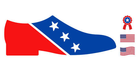 Man shoe icon in blue and red colors with stars. Man shoe illustration style uses American official colors of Democratic and Republican political parties, and star shapes. Simple man shoe vector sign,