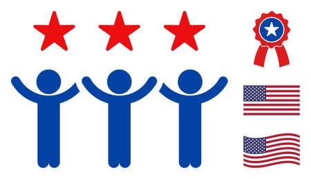 Dancing people icon in blue and red colors with stars. Dancing people illustration style uses American official colors of Democratic and Republican political parties, and star shapes.