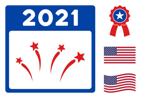 2021 Independence Day icon in blue and red colors with stars. 2021 Independence Day illustration style uses American official colors of Democratic and Republican political parties, and star shapes.