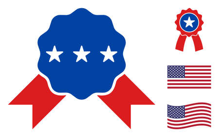 Quality award icon in blue and red colors with stars. Quality award illustration style uses American official colors of Democratic and Republican political parties, and star shapes. Stock Illustratie