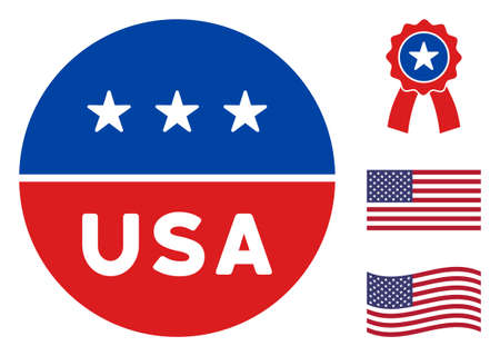 USA circle logo icon in blue and red colors with stars. USA circle logo illustration style uses American official colors of Democratic and Republican political parties, and star shapes.