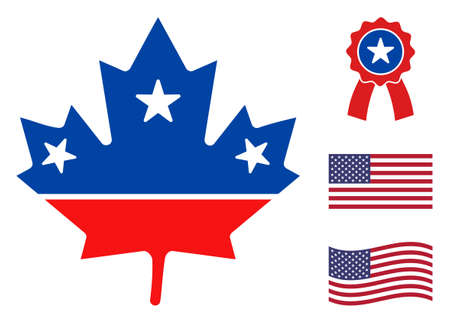 Maple leaf icon in blue and red colors with stars. Maple leaf illustration style uses American official colors of Democratic and Republican political parties, and star shapes.