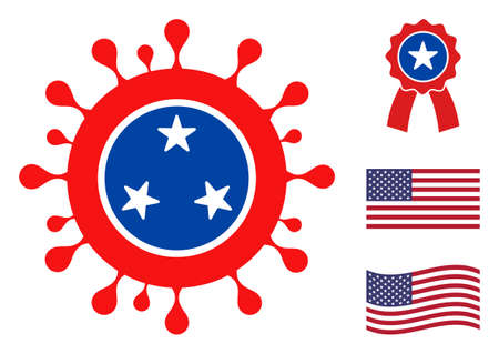 Covid virus icon in blue and red colors with stars. Covid virus illustration style uses American official colors of Democratic and Republican political parties, and star shapes.