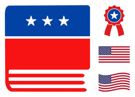Encyclopedia book icon in blue and red colors with stars. Encyclopedia book illustration style uses American official colors of Democratic and Republican political parties, and star shapes.
