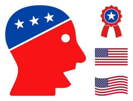 Talking head icon in blue and red colors with stars. Talking head illustration style uses American official colors of Democratic and Republican political parties, and star shapes.