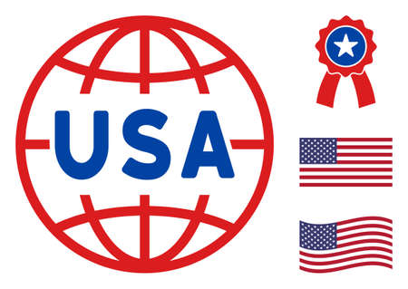 USA world icon in blue and red colors with stars. USA world illustration style uses American official colors of Democratic and Republican political parties, and star shapes. Stock Illustratie