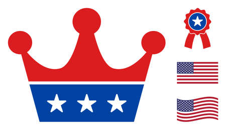 Crown icon in blue and red colors with stars. Crown illustration style uses American official colors of Democratic and Republican political parties, and star shapes. Simple crown vector sign,
