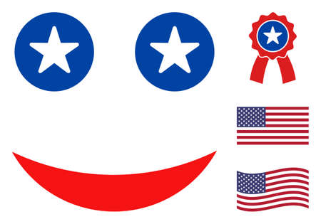 Happy smile icon in blue and red colors with stars. Happy smile illustration style uses American official colors of Democratic and Republican political parties, and star shapes.