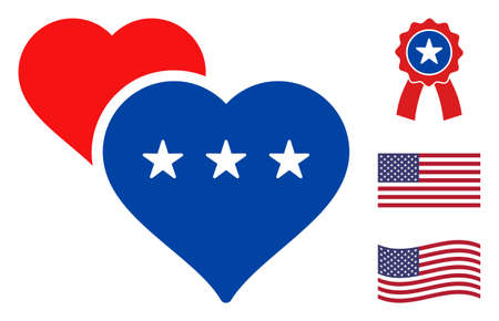 Lover hearts icon in blue and red colors with stars. Lover hearts illustration style uses American official colors of Democratic and Republican political parties, and star shapes.