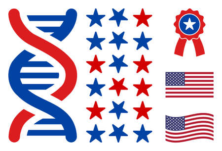 DNA spiral decode icon in blue and red colors with stars. DNA spiral decode illustration style uses American official colors of Democratic and Republican political parties, and star shapes.