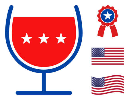 Wine cup icon in blue and red colors with stars. Wine cup illustration style uses American official colors of Democratic and Republican political parties, and star shapes. Simple wine cup vector sign, Stock Illustratie