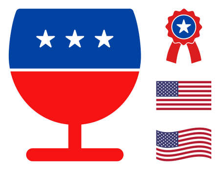 Wine glass icon in blue and red colors with stars. Wine glass illustration style uses American official colors of Democratic and Republican political parties, and star shapes. Stock Illustratie