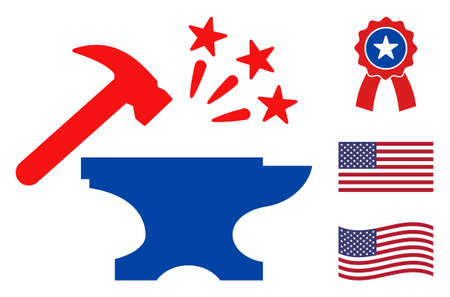 Forge icon in blue and red colors with stars. Forge illustration style uses American official colors of Democratic and Republican political parties, and star shapes. Simple forge vector sign, Stock Illustratie