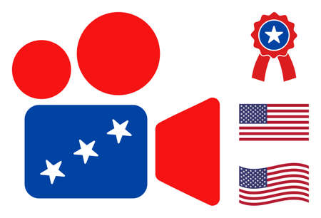 Cinema camera icon in blue and red colors with stars. Cinema camera illustration style uses American official colors of Democratic and Republican political parties, and star shapes.