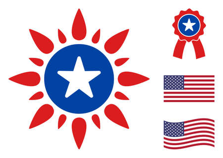 Sunshine icon in blue and red colors with stars. Sunshine illustration style uses American official colors of Democratic and Republican political parties, and star shapes. Simple sunshine vector sign, Stock Illustratie