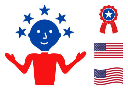 Happy man icon in blue and red colors with stars. Happy man illustration style uses American official colors of Democratic and Republican political parties, and star shapes. Stock Illustratie