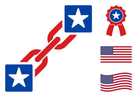 Blockchain icon in blue and red colors with stars. Blockchain illustration style uses American official colors of Democratic and Republican political parties, and star shapes.