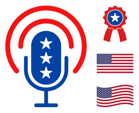 Podcast microphone icon in blue and red colors with stars. Podcast microphone illustration style uses American official colors of Democratic and Republican political parties, and star shapes.