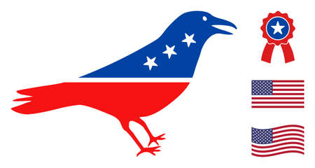 Crow bird icon in blue and red colors with stars. Crow bird illustration style uses American official colors of Democratic and Republican political parties, and star shapes. Stock Illustratie