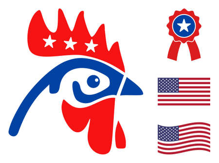 Rooster head icon in blue and red colors with stars. Rooster head illustration style uses American official colors of Democratic and Republican political parties, and star shapes.