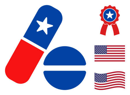 Medical pills icon in blue and red colors with stars. Medical pills illustration style uses American official colors of Democratic and Republican political parties, and star shapes.