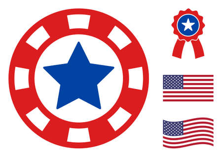 Casino chip icon in blue and red colors with stars. Casino chip illustration style uses American official colors of Democratic and Republican political parties, and star shapes.