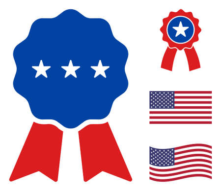 Medal award icon in blue and red colors with stars. Medal award illustration style uses American official colors of Democratic and Republican political parties, and star shapes. Stock Illustratie