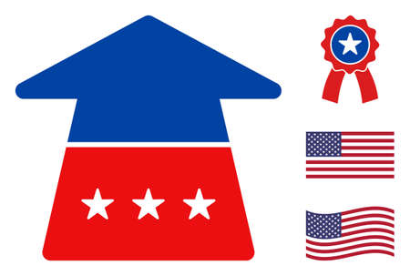 Ahead arrow icon in blue and red colors with stars. Ahead arrow illustration style uses American official colors of Democratic and Republican political parties, and star shapes.