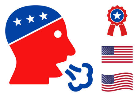Speaking man head icon in blue and red colors with stars. Speaking man head illustration style uses American official colors of Democratic and Republican political parties, and star shapes. Stock Illustratie