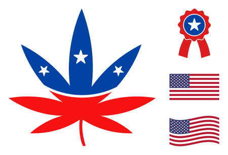 Cannabis icon in blue and red colors with stars. Cannabis illustration style uses American official colors of Democratic and Republican political parties, and star shapes. Simple cannabis vector sign,